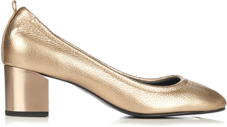 LANVIN Metallic grained-leather pumps $573 thestylecure.com