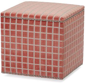 Massoud Furniture Clarke Ottoman - Coral Velvet