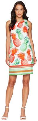 London Times Cotton Sateen Pineapple Print Shift Dress Women's Dress