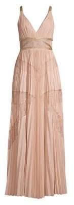BCBGMAXAZRIA Women's Lace Pleated Georgette A-Line Dress - Bare Pink - Size 0