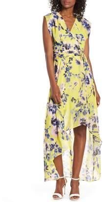 Eliza J Surplice High/Low Chiffon Maxi dress