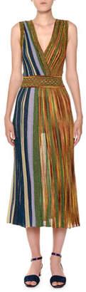 Missoni V-Neck Sleeveless Plisse Lamé Reversible Maxi Dress