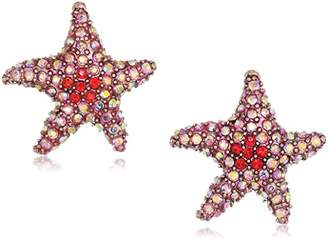Betsey Johnson Women's Crabby Couture Pink Starfish Stud Earrings