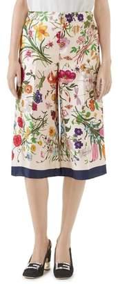 Gucci Floral Print Silk Foulard Culottes