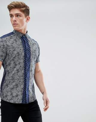 Solid Short Sleeve Shirt In Contrast Ditsy Print