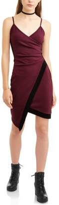 Almost Famous Juniors' Color Blocked Wrap Pleated Asymmetric Dress