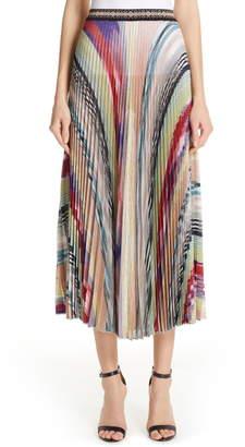 Missoni Pleated Metallic Stripe Midi Skirt