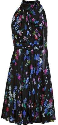 Milly Lydia Pleated Floral-Print Silk Crepe De Chine Dress