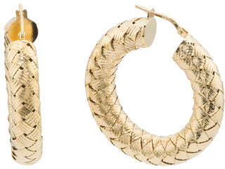 Made In Italy Gold Plated Sterling Silver Basketweave Hoops Earrings