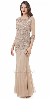JS Collections Embellished V Back Tulle Evening Dress $385 thestylecure.com