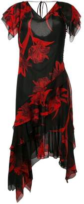 Roberto Cavalli draped ruffle midi dress