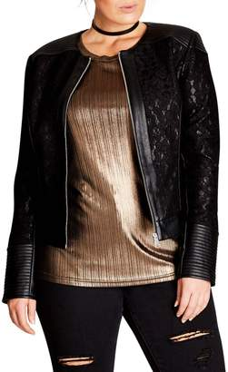 City Chic Wild Heart Faux Leather Jacket