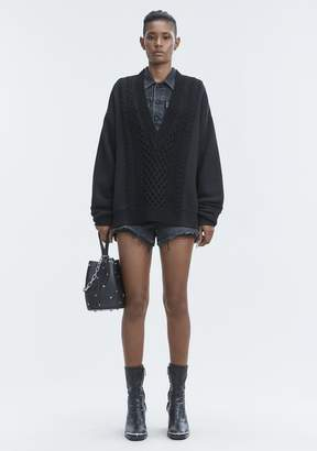 Alexander Wang MIXED MEDIA VNECK TOP