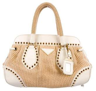 Prada Leather-Trimmed Raffia Bag