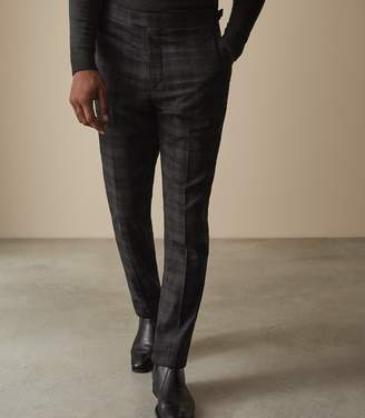 Reiss RODNEY SLIM FIT CHECKED TROUSERS Charcoal