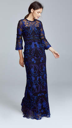 Marchesa Guipure Lace Gown with 3/4 Sleeves