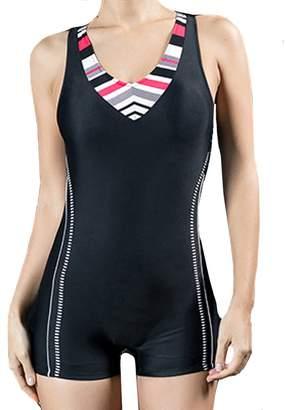 b373ec387a943 XIAOLI COLLETION Women One Piece Racersback Swimsuit Sports Boyleg Swimwear