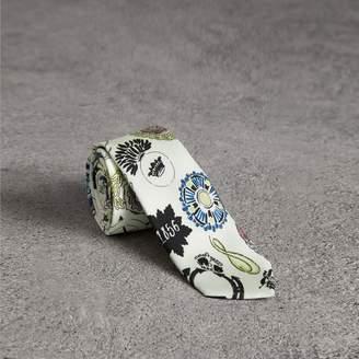 Burberry Slim Cut Emblem Print Silk Tie
