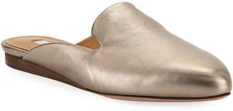 Veronica Beard Greyson Flat Metallic Leather Mules