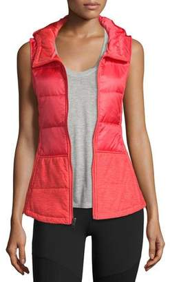 The North Face Pseudio Puffer Hooded Tunic Vest, Cayenne Red $99 thestylecure.com