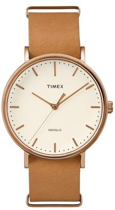 Timex R) Fairfield Leather Strap Watch, 41mm
