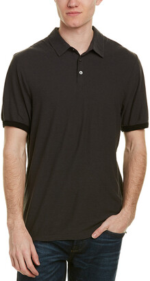 James Perse Contrast Band Linen-Blend Polo