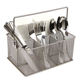 Mind Reader Storage Basket Organizer, Utensil Holder, Forks, Spoons, Knives, Napkins, Perfect for Desk Supplies, Pencil, Pens, Staples, Silver