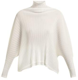 Pleats Please Issey Miyake Pleated Batwing Top - Womens - Ivory