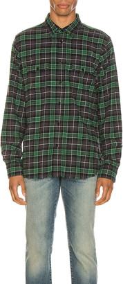 Saint Laurent Oversize Plaid Shirt in Green Stonewash   FWRD