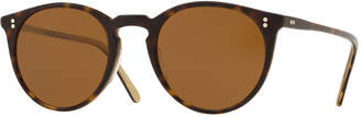 Oliver Peoples Men's O'Malley Peaked Round Sunglasses with Mineral Glass Lenses - Horn Brown
