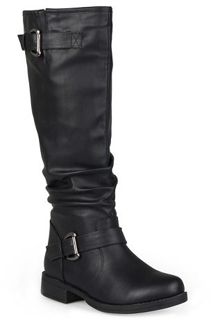Journee Collection Women's Journee Collection Extra Wide-Calf Knee-High Buckle Riding Boots