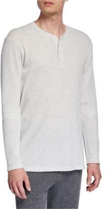 Vince Men's Waffle-Knit Henley Shirt