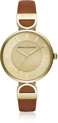 Armani Exchange Brooke Gold Tone Luggage Women's Watch