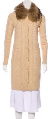 Robert Rodriguez Fur-Trimmed Wool-Blend Cardigan
