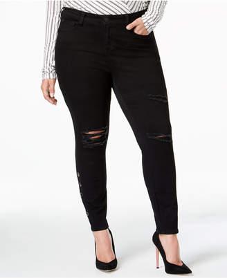 Celebrity Pink Plus Size Destructed Black Skinny Jeans