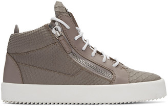 Giuseppe Zanotti Grey Python-Embossed London High-Top Sneakers $745 thestylecure.com