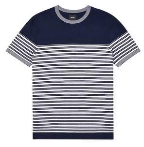 Mens Navy Stripe Crew Neck Knitted Jumper