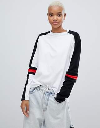 Asos Design DESIGN long sleeve t-shirt in mono colour block