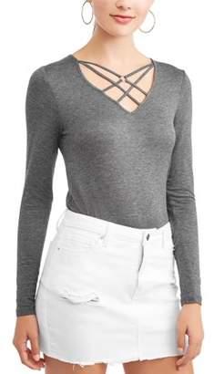 Abasix Juniors' Criss Cross Caged Long Sleeve V-Neck T-Shirt