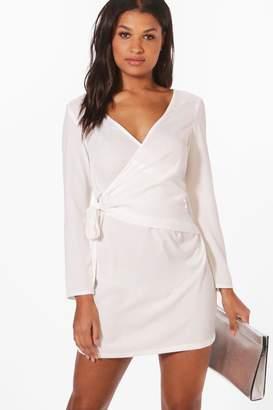 boohoo O-Ring Wrap Front Shirt Dress