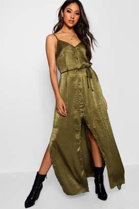 boohoo Nicole Hammered Satin Button Maxi Dress