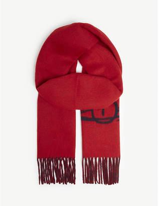 Vivienne Westwood Logo two-tone wool-blend scarf