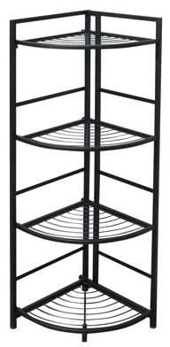Flipshelf FlipShelf-Folding Metal Shelf-No Assembly-Bookcase-Style (4 Shelves, Corner)