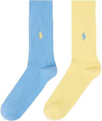 Polo Ralph Lauren Men's 2 Pack Egyptian Cotton Rib Socks