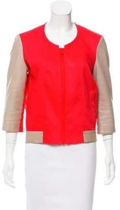Helmut Lang Leather Sleeve Linen Jacket