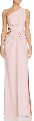 Laundry by Shelli Segal One Shoulder Beaded Cutout Gown $325 thestylecure.com