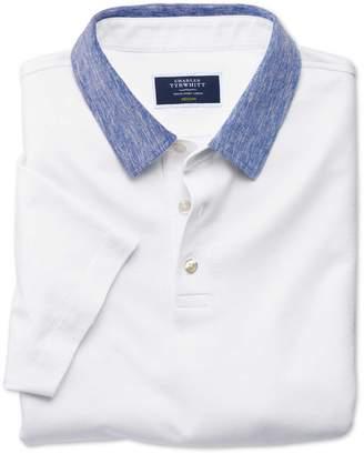 Charles Tyrwhitt White Cotton Linen Polo Size Large