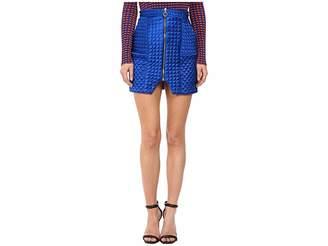 Kitty Joseph Quilted Satin Short Skirt with Front Bottom Split Women's Skirt