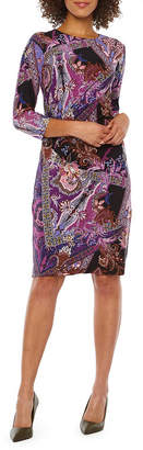 Chetta B BE BY Be by 3/4 Sleeve Paisley Sheath Dress