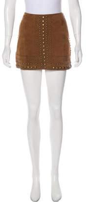 Haute Hippie Suede Studded Skirt